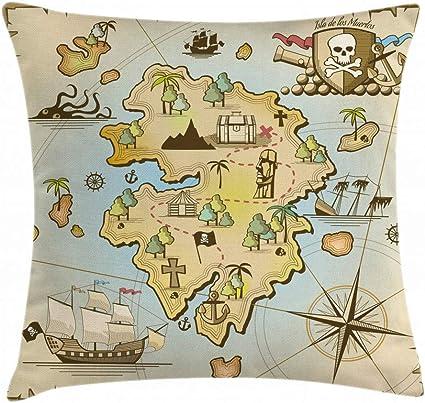 Lunarable Funda de cojín con diseño de Mapa de la Isla Dibujos Animados de la Isla Pirata, Pecho de Barco Pirata, Pulpo náutico, Funda de Almohada Decorativa Cuadrada, 91,44 x 91,44 cm,