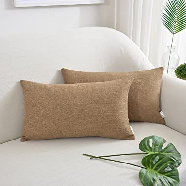 NATUS WEAVER Decorative Blended Linen Throw Pillow Cover Oblong Rectangular Cushion Covers For Chair Couch Bench, 12  x 20  inch, Set of 2, Coffee Brown