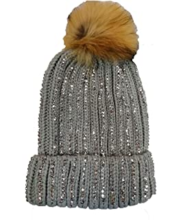 3ba0a990f57 KGM Accessories Luxury Knitted Diamante bobble hat with Faux fur pom Grey