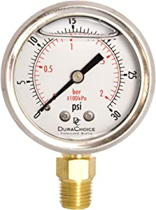 """2"""" Oil Filled Pressure Gauge - Stainless Steel Case, Brass, 1/4"""" NPT, Lower Mount Connection, 0-30PSI"""