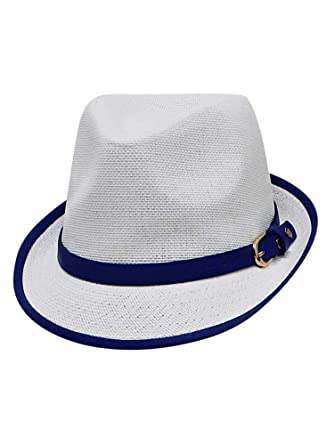 94ef07004897c8 Luxury Divas White & Blue Lightweight Summer Fedora Hat with Belt Style Band  at Amazon Women's Clothing store: