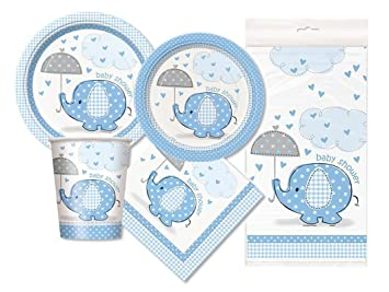 Blue Elephant Baby Shower Party Package   Serves 16 (Blue)