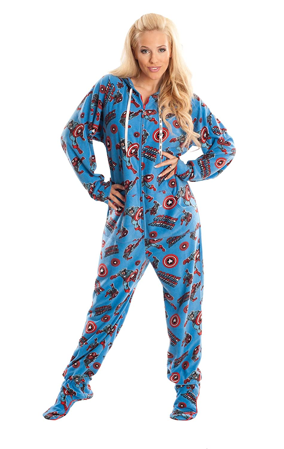 8037063a8 Captain America Marvel Blue Unisex Adult Footed Onesie Pajamas for ...