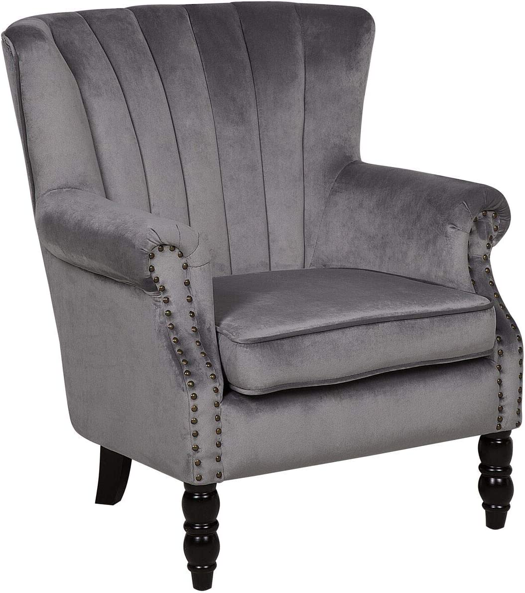 Beliani Modern Velvet Wingback Chair Grey Scroll Roll Arms Solid