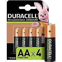 Duracell Pilas Recargables AA 2500 mAh, paquete de 4, Color Verde