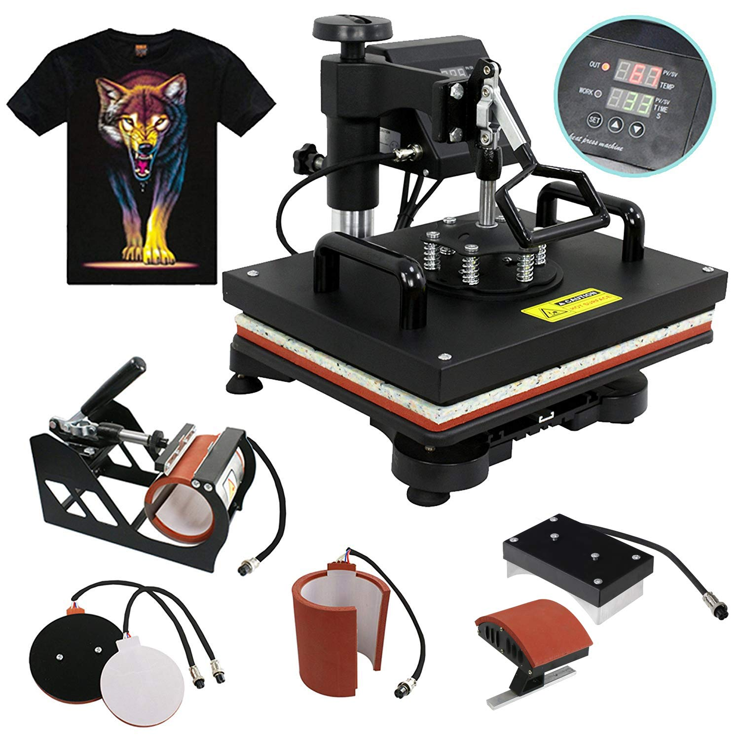 F2C 5 in 1 Professional Digital Transfer Sublimation Swing-Away 360-degree Rotation Heat Press Machine Hat//Mug//Plate//Cap//T-Shirt Multifunction Black