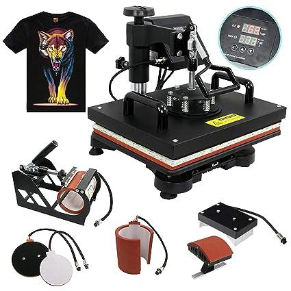1df0724f Amazon.com: F2C 5 in 1 Professional Digital Transfer Sublimation Swing-Away  360-degree Rotation Heat Press Machine Hat/Mug/Plate/Cap/T-Shirt  Multifunction ...
