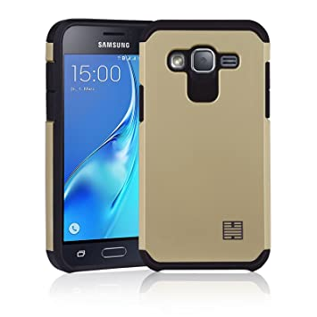 32nd Funda Armadura Rigida Slim Armour con Doble Carcasa para Samsung Galaxy J3 (2016) SM-J320 - Oro