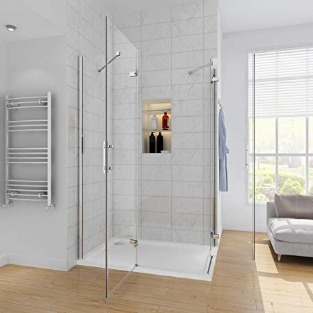 Cubículo de vidrio para ducha esquinera con puerta corredera doble, con base de ducha, 1000x700mm Shower Enclosure + Tray: Amazon.es: Hogar