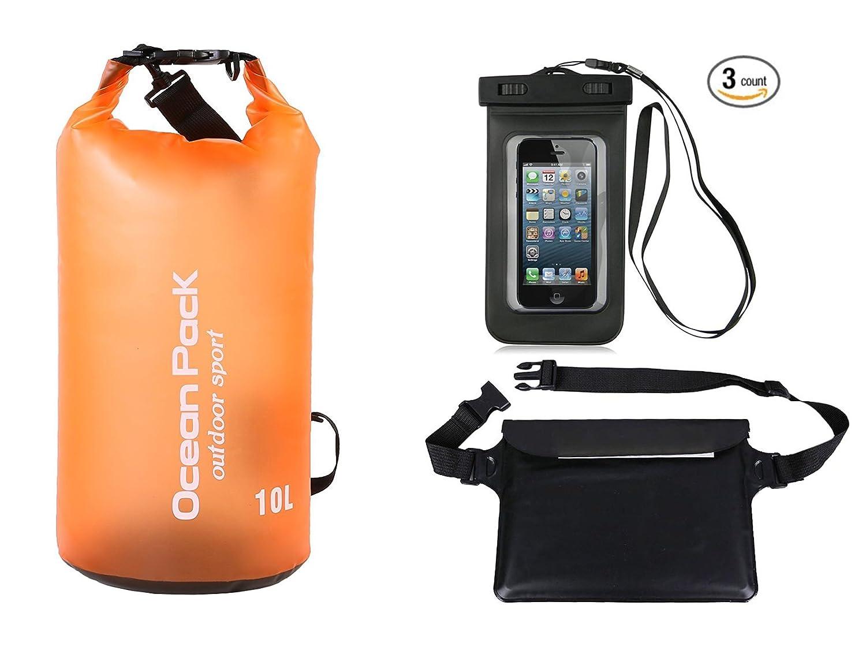 Azuki防水ドライバッグ+防水ウエスト袋+防水電話ケース三層構造スーツ2 – 30l B07BT3P914 2L Trans-Orange TransparentOrange 2L
