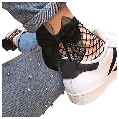 Women Fishnet Socks Inkach Womens Ruffle Ankle High Hollow Out Socks Mesh Lace Fish Net Short Sock