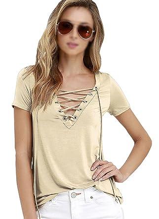 a8ddabfb39 LABANCA Womens Summer Deep V-Neck Tee Lace Up Short Sleeve T-Shirt Khaki