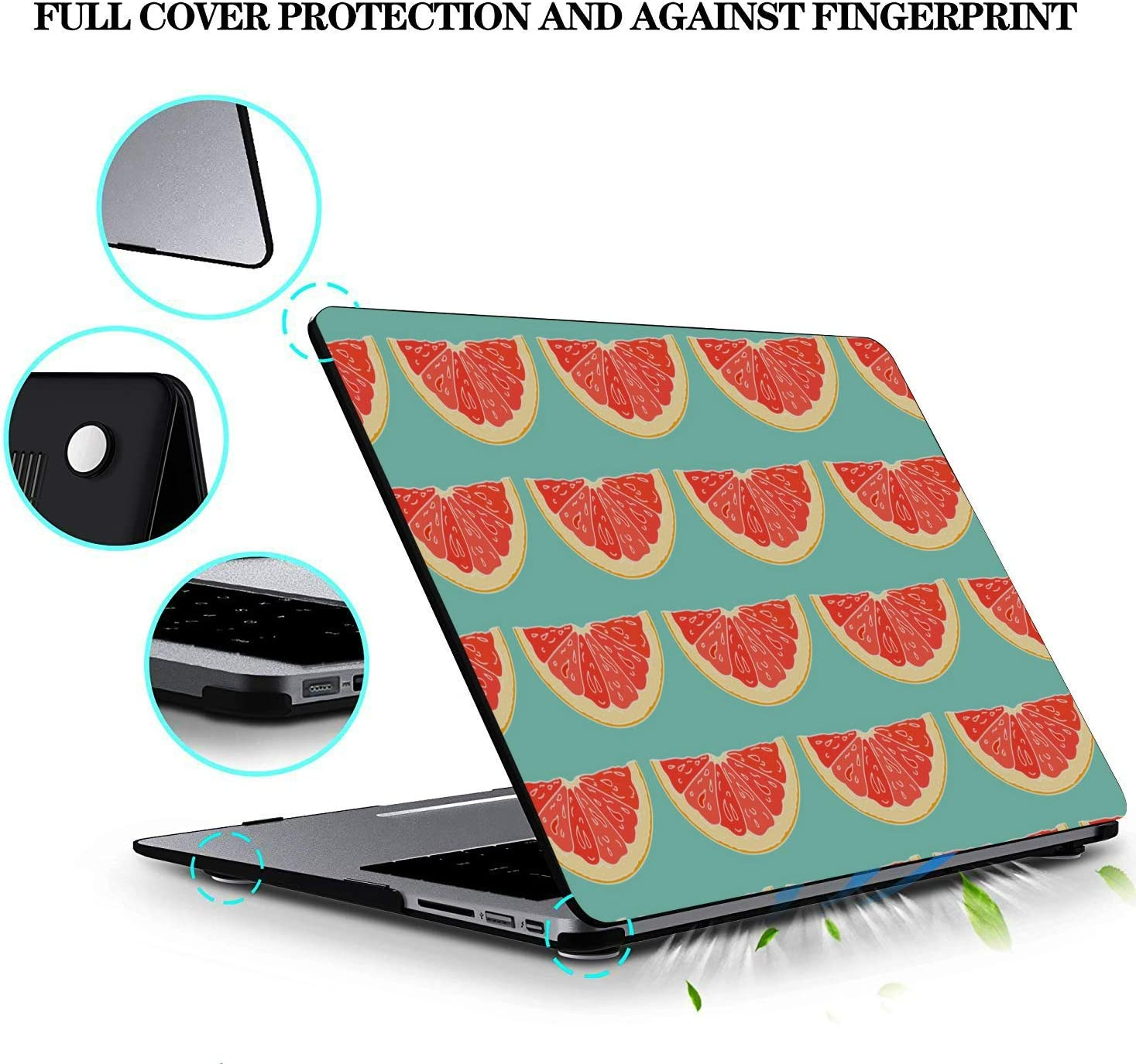 MacBook Pro Hard Cover Round Summer Painting Fruit Red Pomelo Plastic Hard Shell Compatible Mac Air 11 Pro 13 15 Mac Book Air Case Protection for MacBook 2016-2019 Version