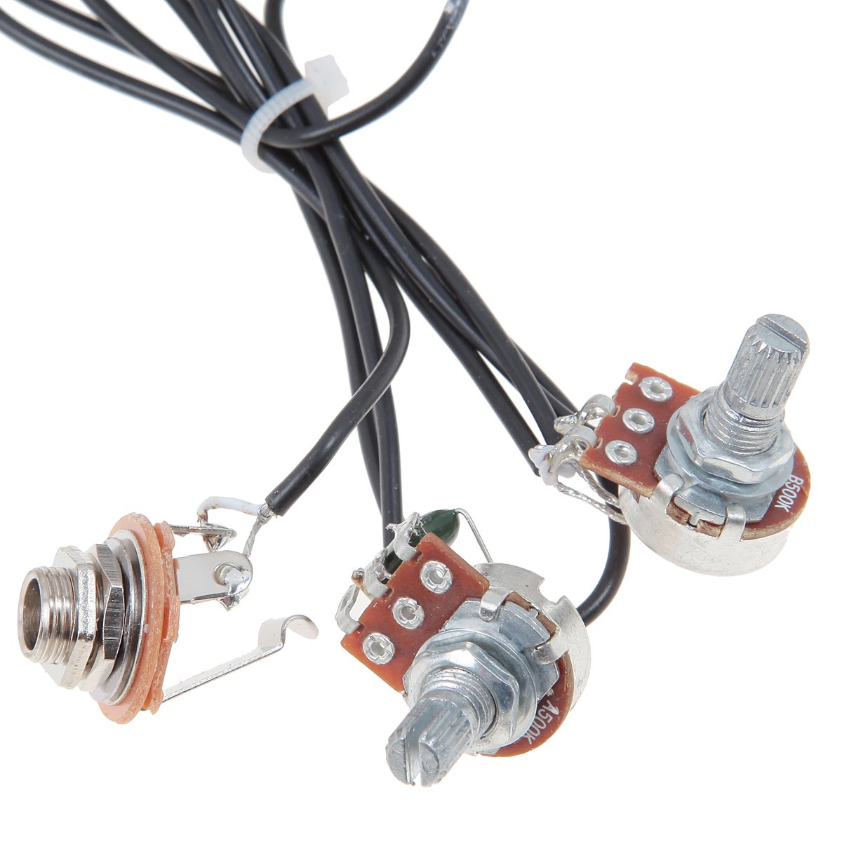 Kmise Mi0304 White Prewired Guitar Sound Hole Pickup Wiring Harness For 4 6 String Cigar Box