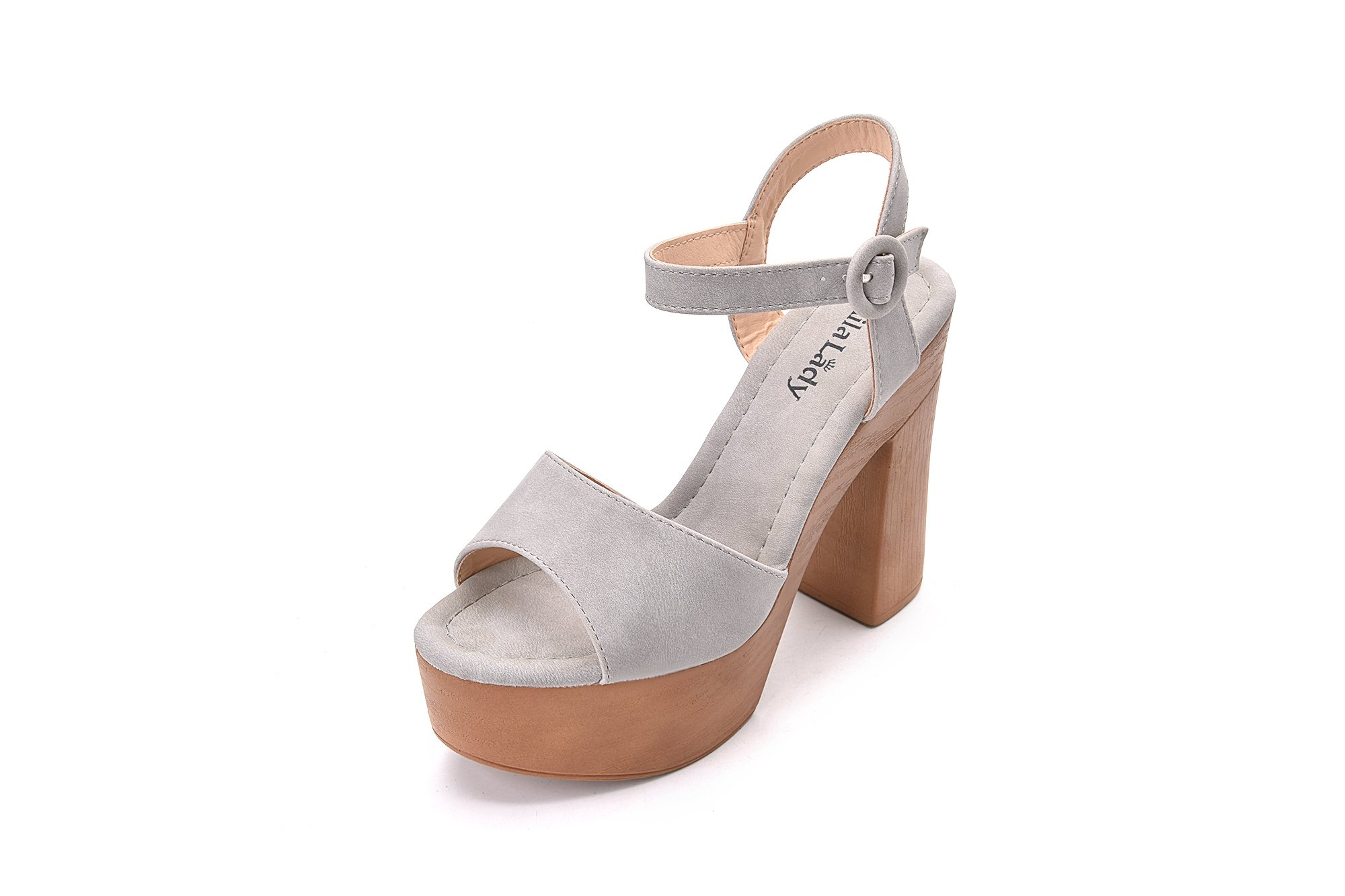 Evoking Chic Styles Ankle Strap Adjustable Buckle Chunky Heeled Sandals Platform Sole Shoes for Women, Loleta Grey Size 8.5