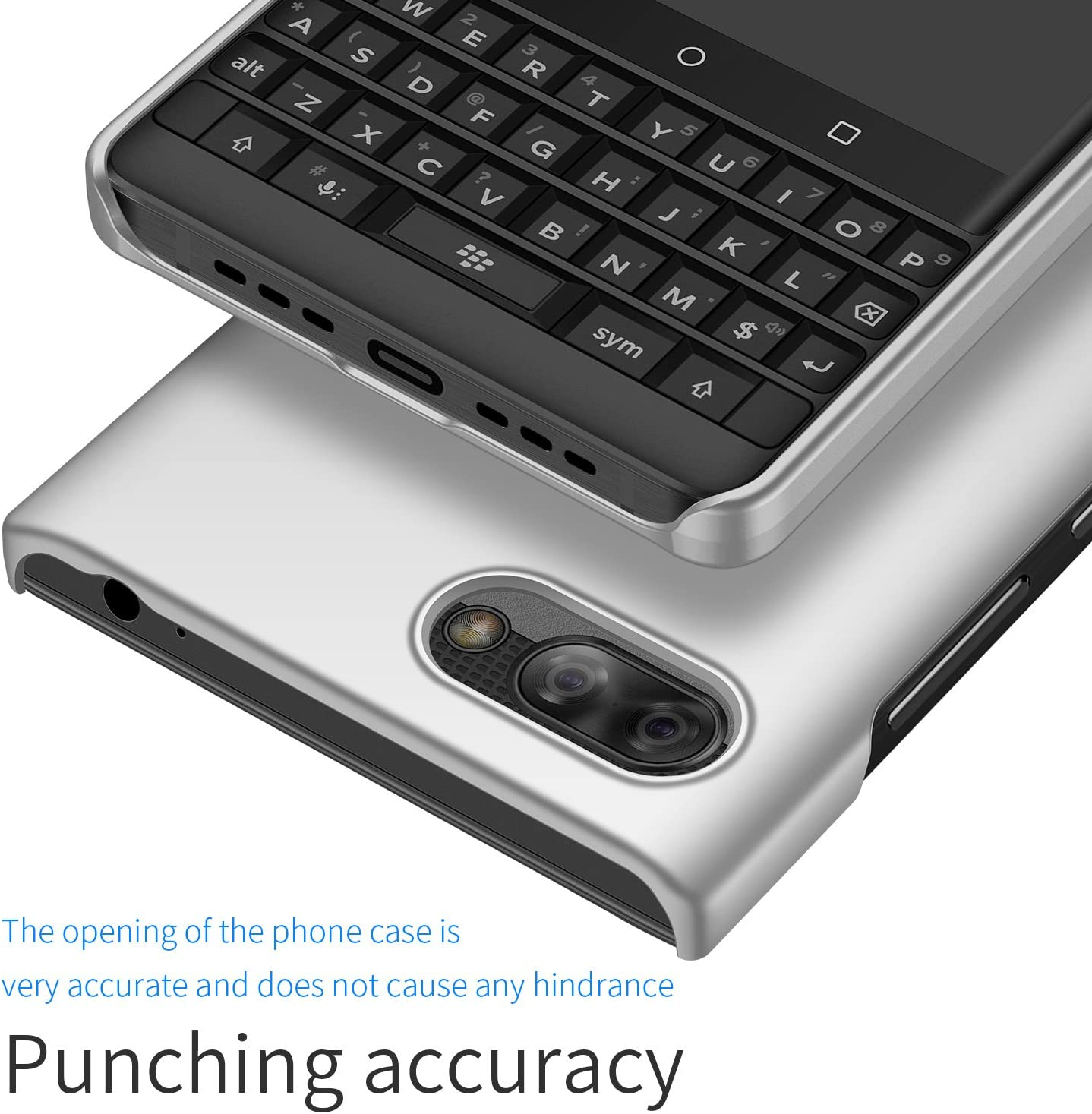 Minimalist Slim Protective Phone Case Back Cover for BlackBerry Key2 LE BlackBerry Key2 LE Case Ultra-Thin Smooth Silver Almiao