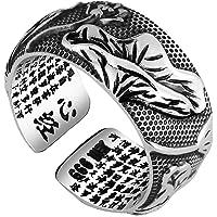 Epinki 999 Sterling Silver Ring, Men Buddhist Religious Silver Buddha Lotus Sutra Ring Adjustable