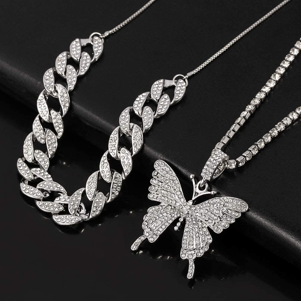 feimeng jewelry Cuban Link Butterfly Pendant Necklace Womens Hip Hop Iced Out Choker Chain with Bling Rhinestones Fashion Accessory for Girls