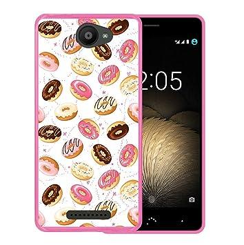 WoowCase Funda Bq Aquaris U - U Lite, [Bq Aquaris U - U Lite ] Funda Silicona Gel Flexible Donuts, Carcasa Case TPU Silicona - Rosa