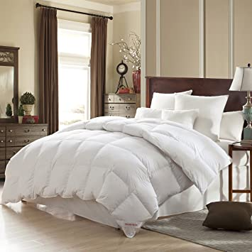 SNOWMAN White Goose Down Comforter Twin Size 100% Cotton Cover Down Proof  Baffle Boxes Construction