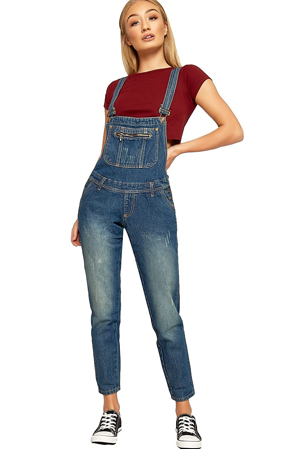 2019 discount sale latest various colors WearAll Womens Classic Denim Dungaree Trousers - Blue - US ...