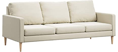 Campaign 86-Inch Steel Frame Brushed Weave Sofa, Almond White with Solid Maple Legs