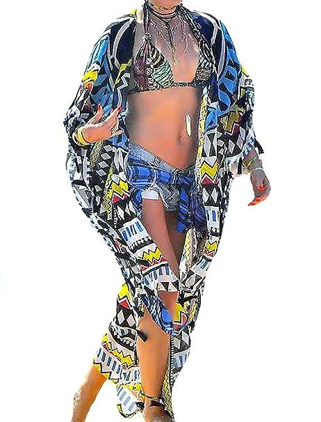 0c90e75d2bf85 Bestyou Women's Bohemian Long Kimono Beach Cover Up Dress Sheer Chiffon  Cardigans Beachwear Swimwear (Print