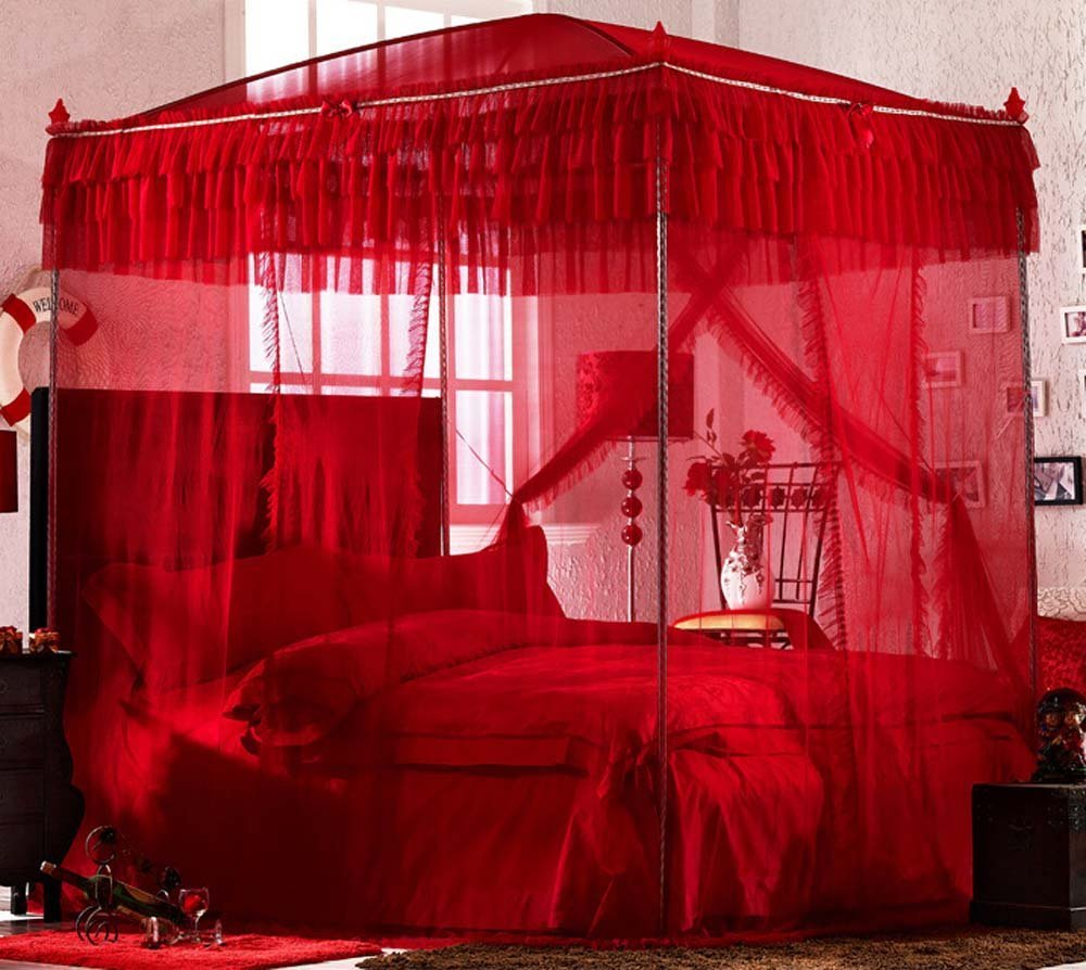 Nattey Red 4 Corner Post Bedding Canopy Mosquito Netting With Frame(Post) Queen Size by Nattey (Image #2)
