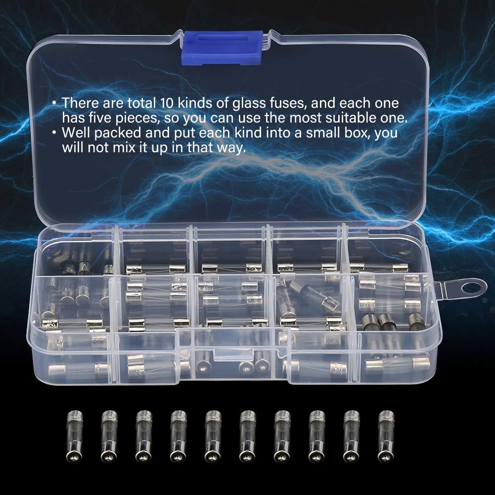 0,75A 6A 0,5A 6,3A 0,3A 2,5A 50pcs 5x20mm flinke Glasrohr Sicherung sortiert Kit Amp 0,25A 1A 4A 3A