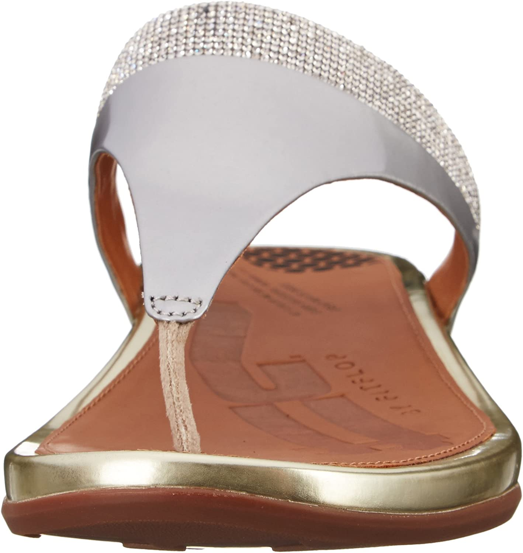 Fitflop Banda Micro Crystal Toe Post Donna Sandalo Metallico Metallisch