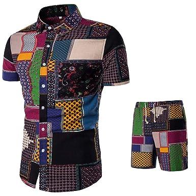 773b4af5 VEZAD Summer New Comfortable Fashion Short Sleeve and Short Pants Ttitching  Men's Suit D Black