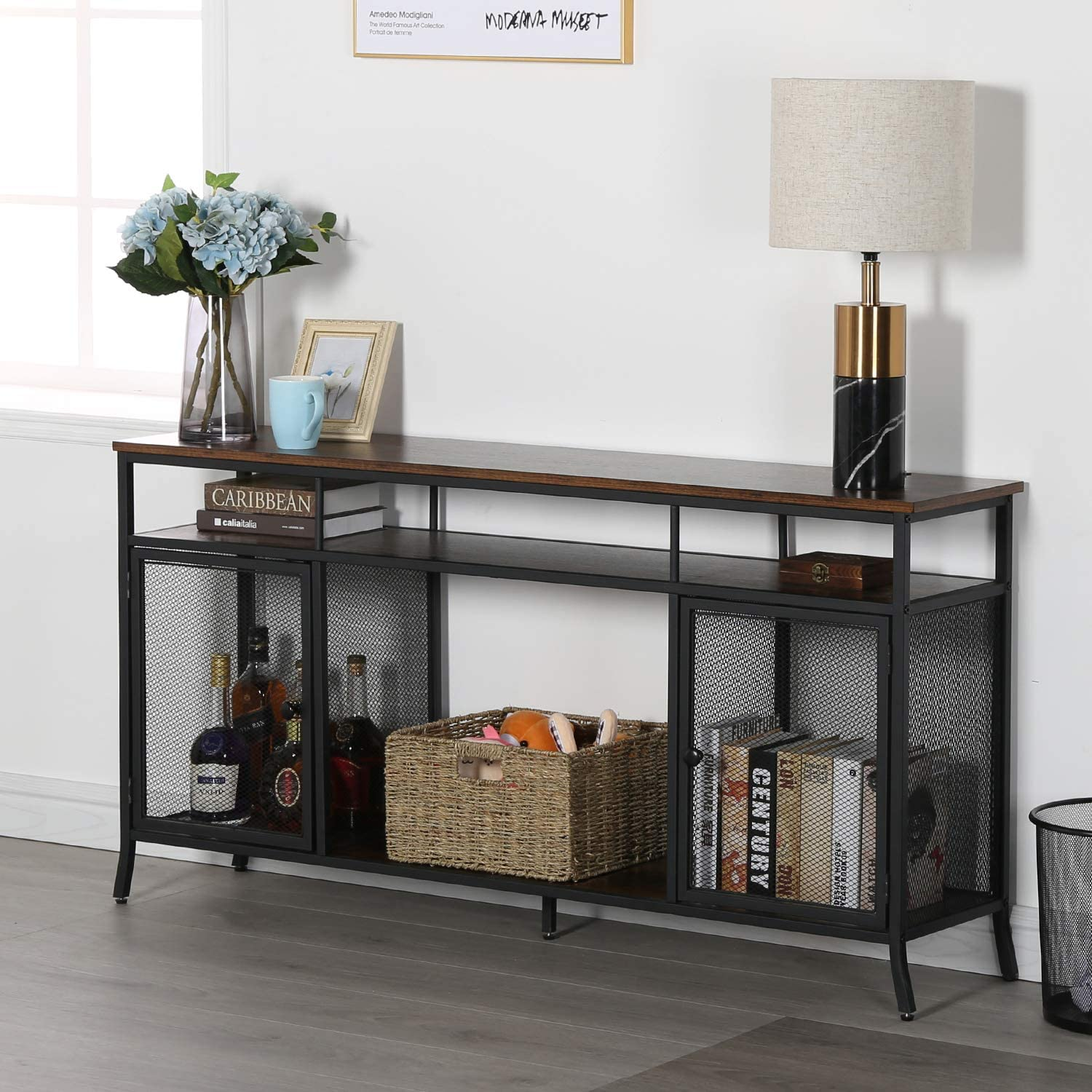 """VECELO TV Stand Console Table for Living Room,Retro Brown, 54.9"""""""