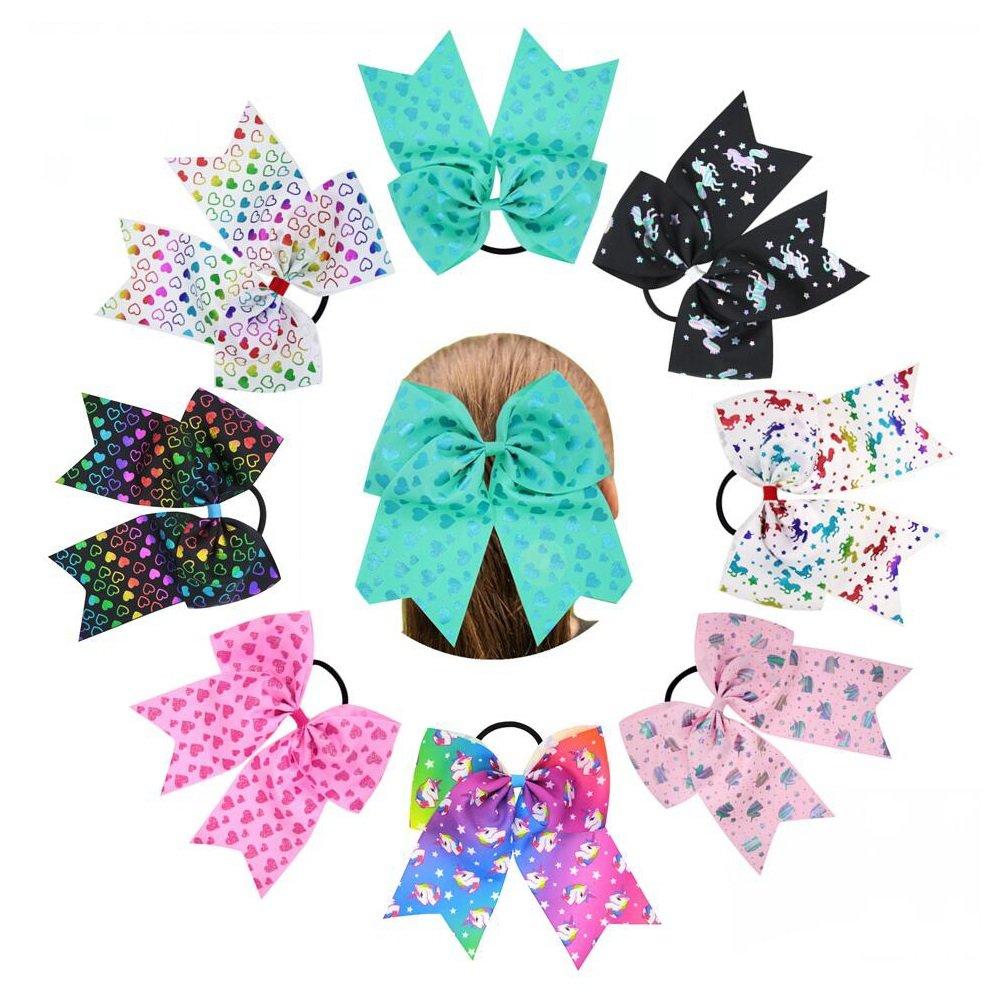 Nishine 8pcs 7'' Girls Big Unicorn Heart Pattern Cheer Hair Bows Stretch Hair Rope Ribbon Bow Hair Ties Gift
