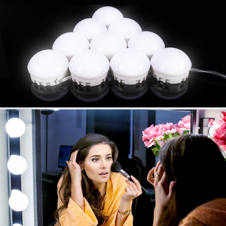 化粧台のミラーライト、guckmall 10 LED調光機能付きライトミラー、USB電源供給と4.82 M非表示調整可能な長さ、7000 K調光機能付きデイライトホワイトforメイクアップドレッシングテーブル B07CPCBCL3 14390