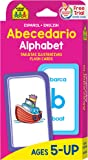 SCHOOL ZONE - Bilingual Alphabet Flash Cards, Ages 5 and Up, ESL, Language Immersion, Spanish-English Alphabet, ABCs, Letter-Picture Association and More! (Spanish Edition)