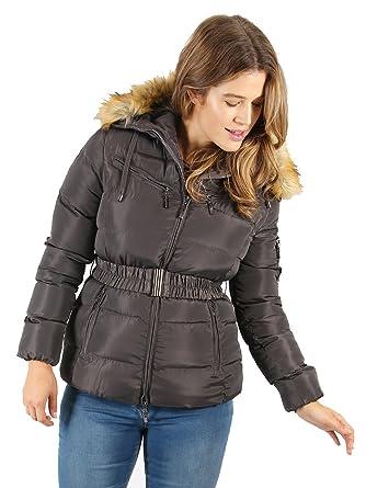 29ac34b8d6f Lovedrobe Womens Plus Size Grey Belted Puffer Jacket (18)  Amazon.co ...
