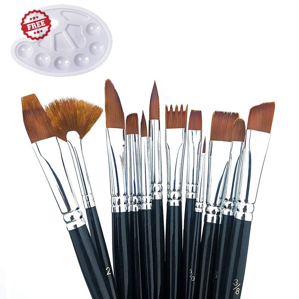 Watercolor Oil Acrylic Paint Brushes Set, Artist Face and Body Professional Painting Kits with Nylon Tips, 12 Pieces and a Paint Palette by longsee