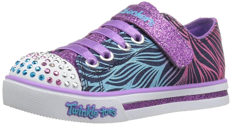 Skechers Girls' Sparkle Glitz-Shiny Spirit Sneaker,Denim/Multi,11 M US Little Kid
