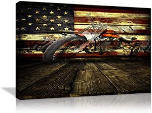 AMEMNY USA Retro American Flag Retro Motorcycle Wall Art Canvas Prints Thin Red Line Home Decor Retro Patriotic Concept USA Flag Pictures Poster for Living Room Bedroom Painting Framed Ready to Hang
