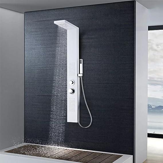 Fvino – Panel de ducha hidromasaje de acero inoxidable – Columna de ducha de mano, cascada y ducha efecto lluvia – 15 x 47 x 130 cm, blanco: Amazon.es: Jardín