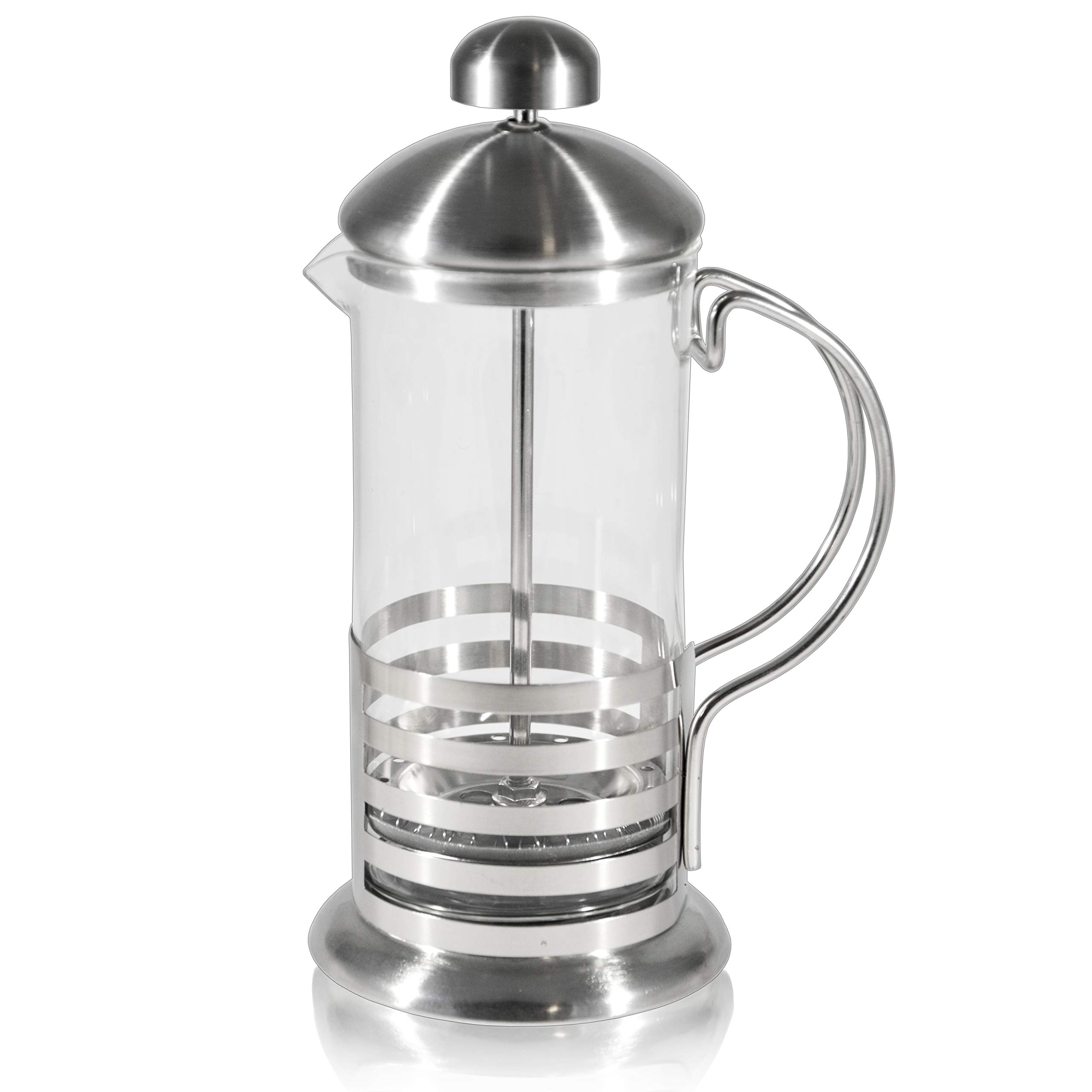 French Press Single Serving Coffee Maker, Small Affordable Coffee Brewer with Highest Filtration, 1 Cup Capacity (12 fl oz/0.4 liter) (Silver) (Silver)