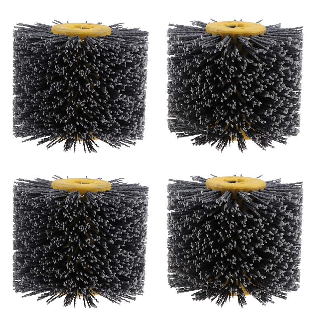B Blesiya 4 x 80 & 120 Grit Wire Drawing Wheel Burnishing Drum Brush for Wood Polishing, Deburring, Cleaning
