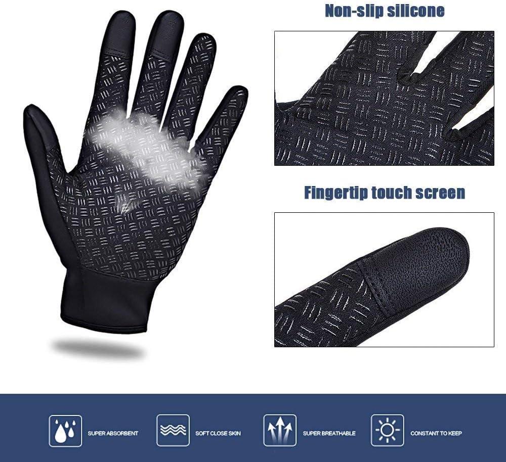 Black Waterproof Touchscreen in Winter Outdoor Bike Gloves Adjustable Size Cycling Gloves