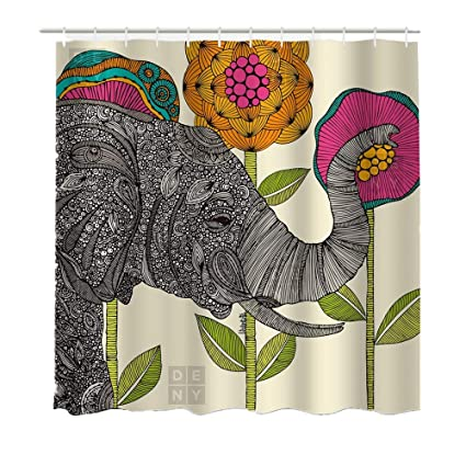 Lebather Fabric Shower Curtains Elephant Bohemian Print Design Waterproof Decorative Bathroom Curtain For Indoor Outdoor