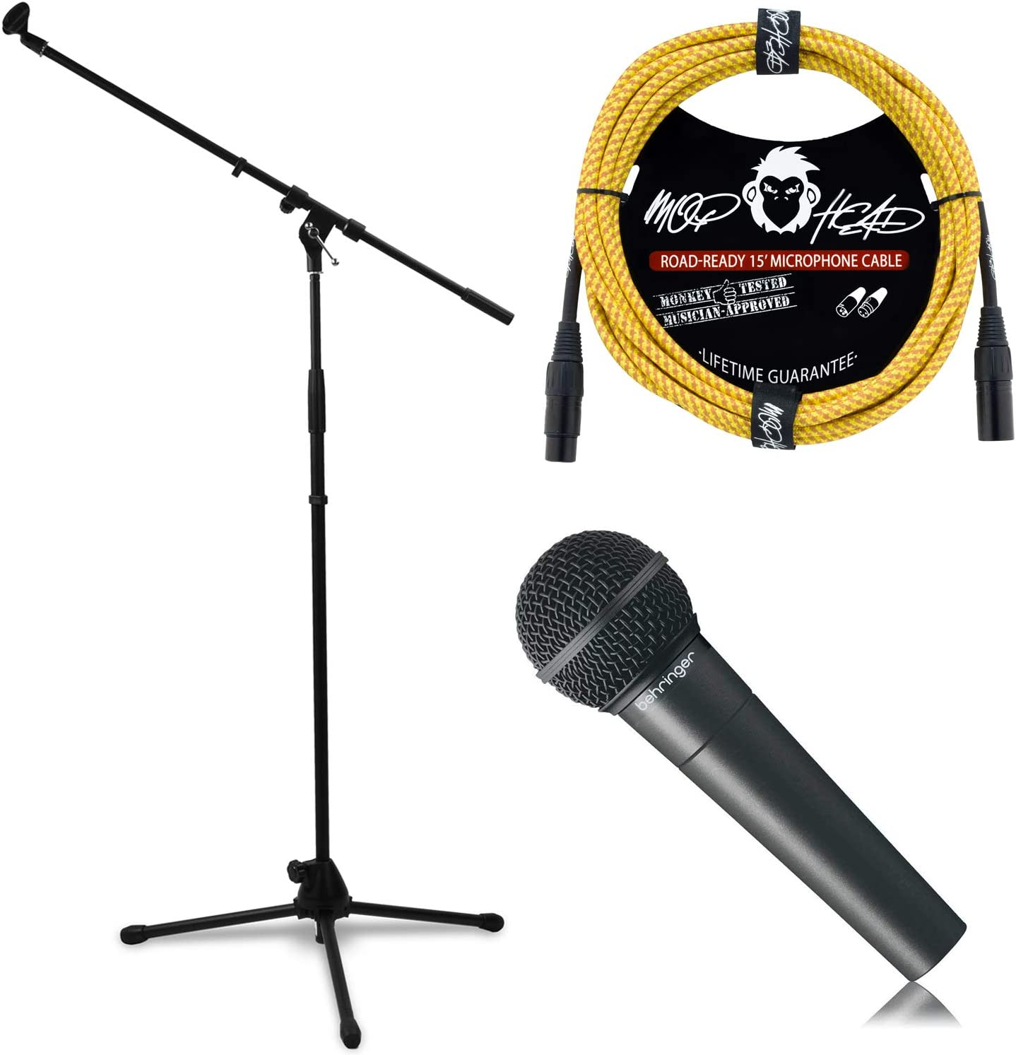 Behringer XM8500 Cardioid Dynamic Microphone Bundle with Mophead 66 Inch Road-Ready Metal Microphone Stand with 33 Inch Boom and Mophead 15 Braided Tweed XLR Mic Cable