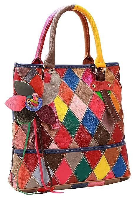 KELUINA Suave Piel de cordero Multicolor Patchwork Bags Tote ...