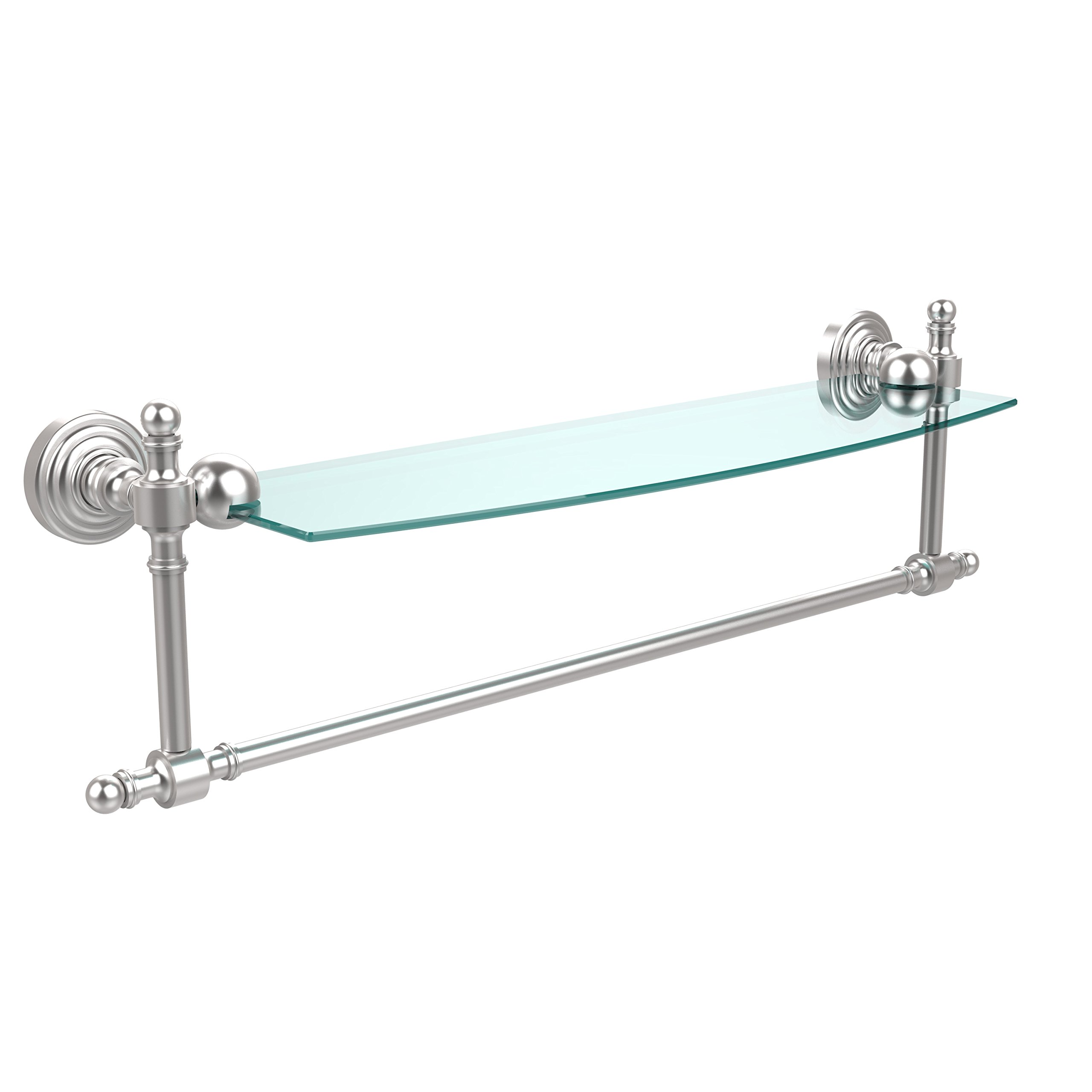 Allied Brass RW-33TB/18-SCH Retro Wave Collection 18 Inch Glass Vanity Shelf with Integrated Towel Bar, Satin Chrome