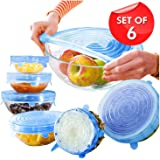 SAFEYURA Silicone Stretch Lids Flexible Covers for Utensils, Silicon lids and Covers Stretchable - 6 Nos