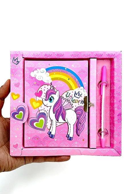 Unicorn Theme Lock Diary With Pen