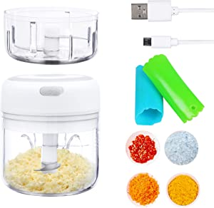 Electric Garlic Chopper, Mini Portable, USB recharged wireless food processor, stainless steel blades, with 100ml & 250ml cups, and bonus silicone garlic peelers. Mixed spice, nuts, vege, baby food